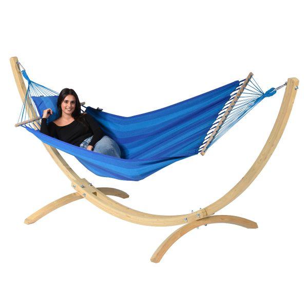 Wood & Relax Blue Cama de Rede para 1 pessoa com suporte