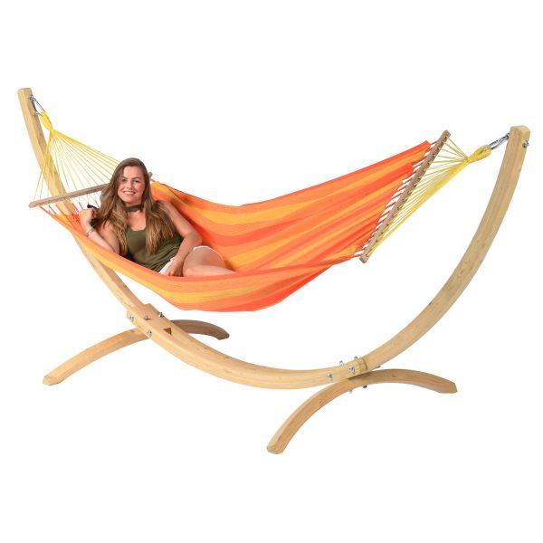 Wood & Relax Orange Cama de Rede para 1 pessoa com suporte