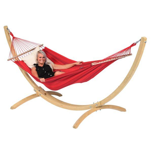 Wood & Relax Red Cama de Rede para 1 pessoa com suporte