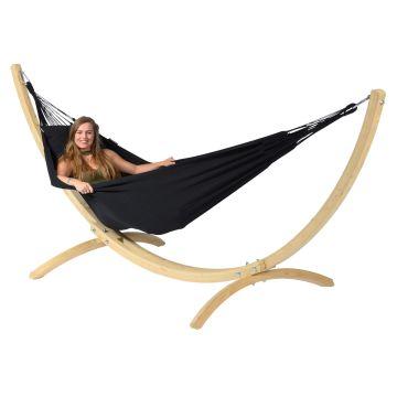 Wood & Classic Black Cama de Rede para 1 pessoa com suporte