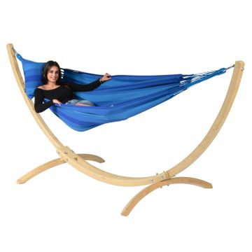 Wood & Dream Blue Cama de Rede para 1 pessoa com suporte