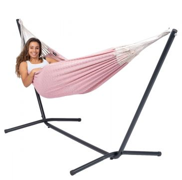 Easy & Natural Pink Cama de Rede para 1 pessoa com suporte