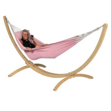 Wood & Natural Pink Cama de Rede para 1 pessoa com suporte