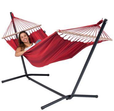 Easy & Relax Red Cama de Rede para 1 pessoa com suporte
