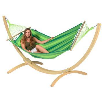 Wood & Relax Green Cama de Rede para 1 pessoa com suporte